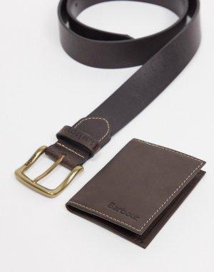 Коричневый подарочный набор из кожаного ремня и бумажника Barbour