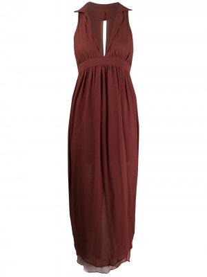 Длинное платье 1990-х годов со сборками Romeo Gigli Pre-Owned. Цвет: красный
