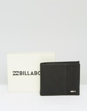 Черный кожаный кошелек Billabong. Цвет: черный