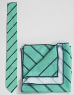 Галстук и платок для пиджака в полоску Minimum. Цвет: синий