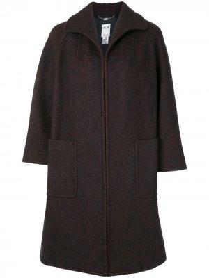 Пальто А-силуэта с потайной застежкой Céline Pre-Owned. Цвет: коричневый