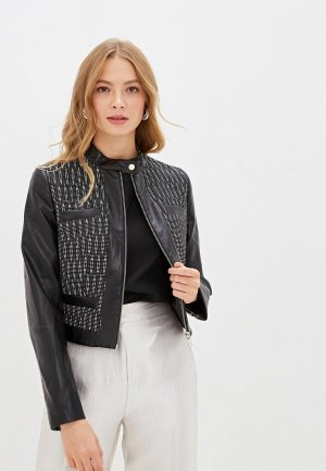 Куртка кожаная Ruxara. Цвет: черный