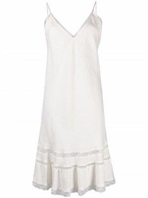 Платье на бретелях с кружевом Gold Hawk. Цвет: белый