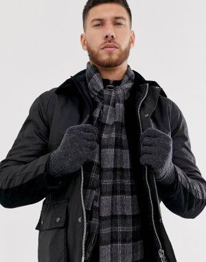 Подарочный набор с серыми перчатками и шарфом из овечьей шерсти -Серый Barbour