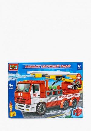 Конструктор Город Мастеров Пожарная машина КАМАЗ, 132 детали. Цвет: разноцветный