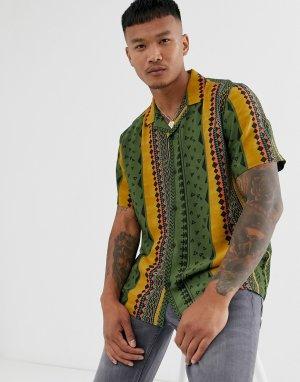 Свободная рубашка в полоску с ацтекским принтом -Темно-синий ASOS DESIGN