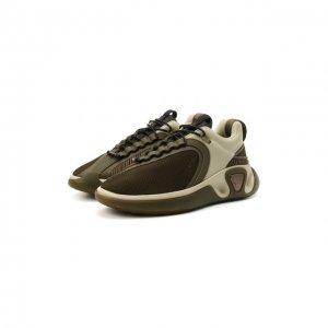 Комбинированные кроссовки B-Runner Balmain. Цвет: хаки