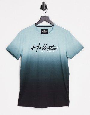 Мятная футболка с эффектом омбре и логотипом Core Tech-Зеленый цвет Hollister