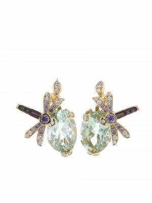 Серьги Gourmande из желтого золота с камнями Christian Dior. Цвет: фиолетовый