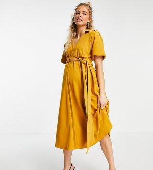 Платье миди горчичного цвета с расклешенной юбкой, запахом и поясом ASOS DESIGN Maternity-Оранжевый цвет Maternity