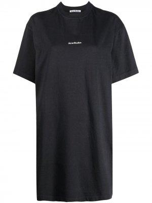 Платье-футболка с логотипом Acne Studios. Цвет: серый