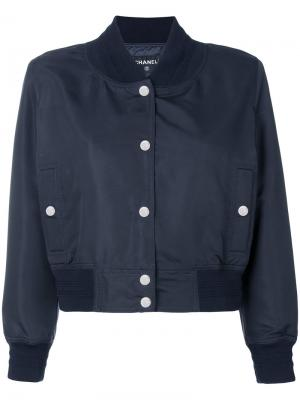 Укороченная куртка бомбер Chanel Vintage. Цвет: синий
