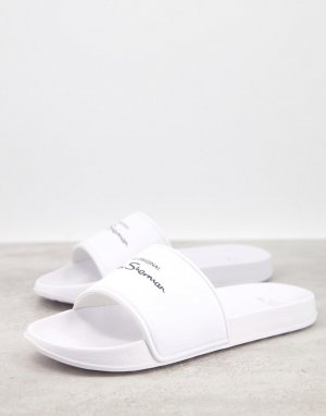 Белые шлепанцы с логотипом -Белый Ben Sherman