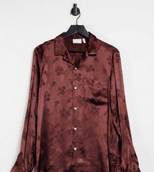 Рубашка шоколадно-коричневого цвета из жаккарда с цветочным рисунком классического кроя глубоким вырезом и отложным воротником -Коричневый цвет ASOS DESIGN