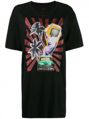 Длинная футболка с графичным принтом A.F.Vandevorst. Цвет: черный