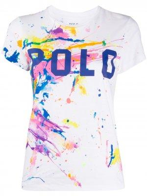 Футболка с эффектом разбрызганной краски Polo Ralph Lauren. Цвет: белый