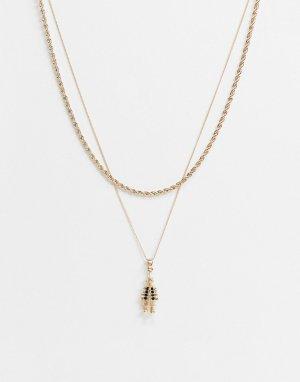 Золотистое ожерелье в два ряда с подвеской виде клоуна -Золотой Chained & Able
