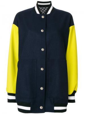 Куртка бомбер с панельным дизайном MSGM. Цвет: синий