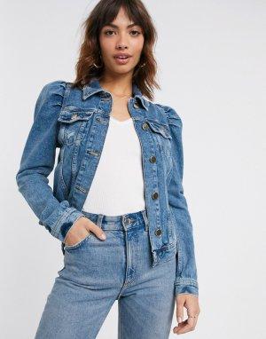 Синяя джинсовая куртка с пышными рукавами -Синий River Island