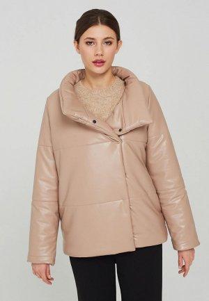 Куртка кожаная Suara Femme. Цвет: бежевый