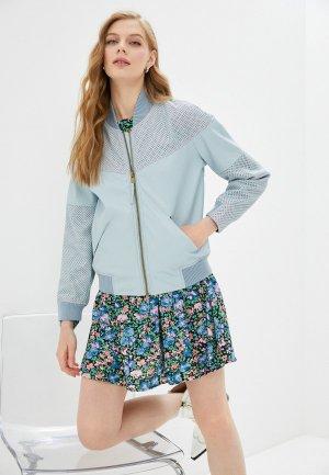 Куртка кожаная Topshop. Цвет: голубой