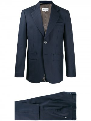 Полосатый костюм с однобортным пиджаком Maison Margiela. Цвет: синий