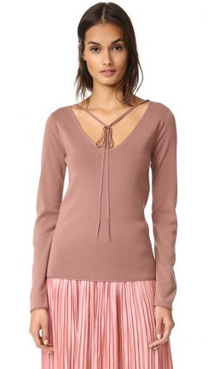 Трикотажный пуловер с длинными рукавами Nina Ricci. Цвет: темная пудра