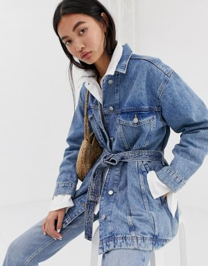 Светло-синяя джинсовая куртка с завязкой на талии -Синий Weekday