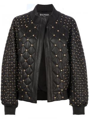 Стеганая куртка-бомбер с заклепками Balmain. Цвет: чёрный
