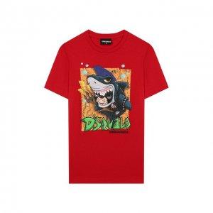 Хлопковая футболка Dsquared2. Цвет: красный