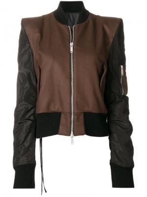Куртка-бомбер с контрастной отделкой Unravel Project. Цвет: коричневый