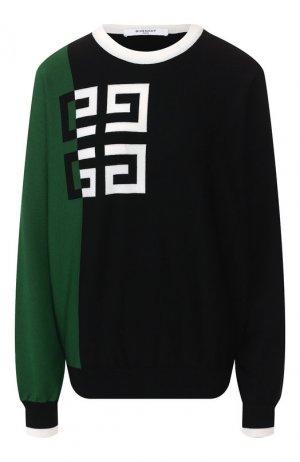 Пуловер из смеси шерсти и вискозы Givenchy. Цвет: зеленый
