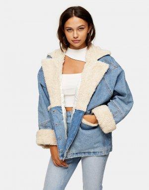 Синяя джинсовая куртка с подкладкой из искусственного меха -Коричневый цвет Topshop