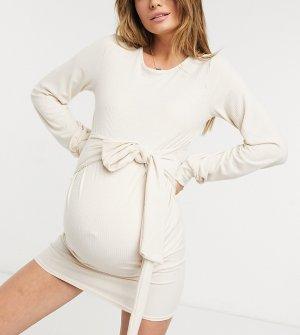 Светло-бежевое платье-свитшот с поясом x Dani Dyer-Бежевый In The Style Maternity