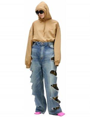 Рваные джинсы с камуфляжной подкладкой Balenciaga