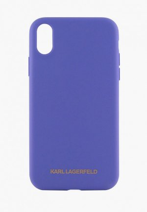 Чехол для iPhone Karl Lagerfeld XS Max, Liquid silicone Gold logo Violet. Цвет: фиолетовый