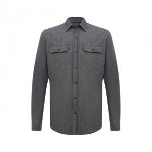 Джинсовая рубашка Ermenegildo Zegna. Цвет: серый