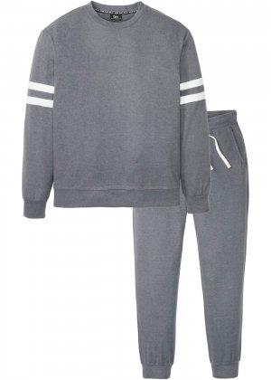 Свитшот и брюки (2 изд.) bonprix. Цвет: серый