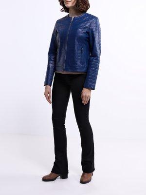 Кожаная куртка ORSA Couture. Цвет: siniy