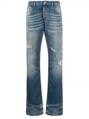 Прямые джинсы с эффектом потертости The Attico. Цвет: синий