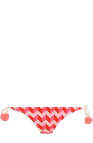 Плавки-бикини с принтом и бантами Heidi Klein. Цвет: розовый