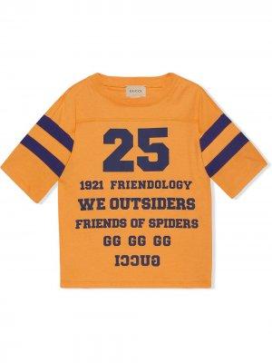 Футболка 1921 Friendology с надписью Gucci Kids. Цвет: синий