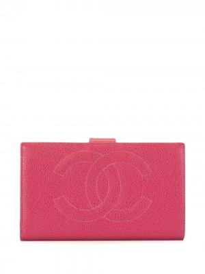 Бумажник 1997-го года с логотипом CC Chanel Pre-Owned. Цвет: розовый