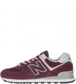 Замшевые кроссовки с текстильными вставками 574 New Balance. Цвет: бордовый