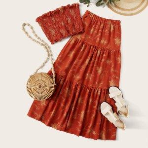 Цветочный топ без бретелек и макси юбка SHEIN. Цвет: оранжевый