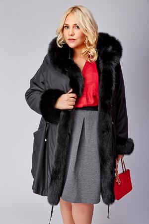 Зимнее женское пальто большого размера с песцом Rolf Schulte. Цвет: черный