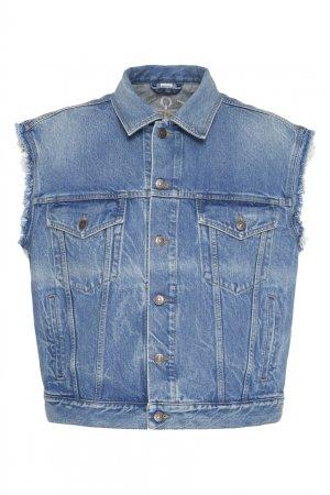Джинсовый жилет с вышивкой на спине Gucci. Цвет: голубой