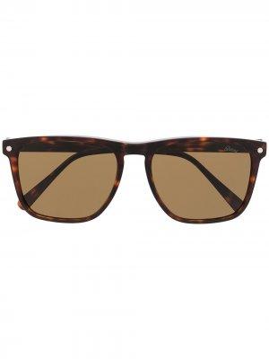 Солнцезащитные очки в квадратной оправе Brioni. Цвет: коричневый