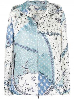 Куртка с капюшоном и принтом Etro. Цвет: синий