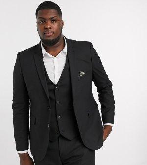 Однотонный пиджак узкого кроя Plus-Черный цвет Harry Brown